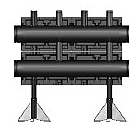 Распределительная гребенка Meibes  из черной стали на 3 контура,  тип V150, Vict